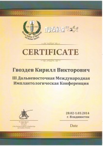 Сертификат участника конференции